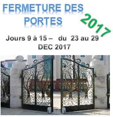 Fermeture portes 2017 jours 9 a 15